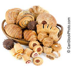 panadería, conjunto, comestibles
