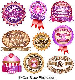 panadería, etiquetas