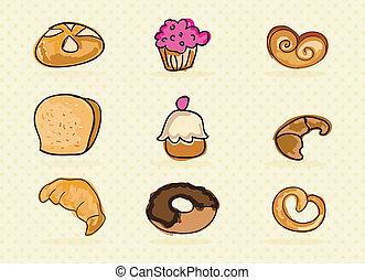 panadería, iconos