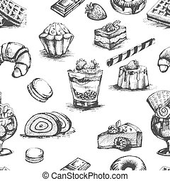 panadería, pasteles, y, postres, cócteles, dibujos, contorno, vector