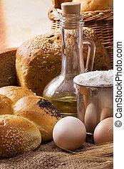 panadería, productos, en, tabla