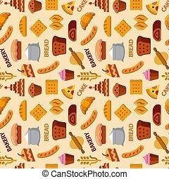 panadería, seamless, patrón