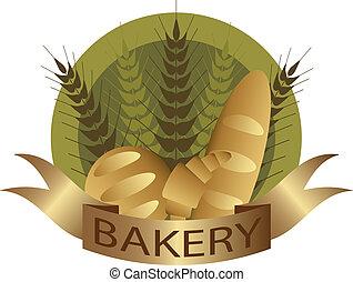 panadería, tallo trigo, y, bread, etiqueta