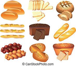 panadería, vector, conjunto, panes