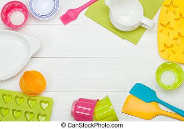 panadería, y, cocina, tools., silicona, moldes, cupcake,...