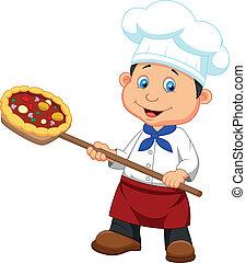 panadero, caricatura, pizza