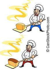 panadero, con, bread, en, cáscara, herramienta