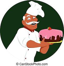 panadero, con, un, pastel