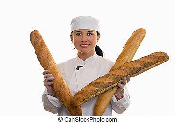 panadero, rollos, largo