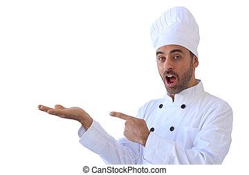 panadero, señalar con el dedo hacerlo/serlo, el suyo, vacío, mano, con, copyspace