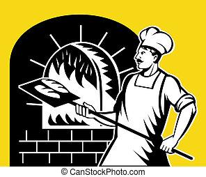 panadero, tenencia, hornada, cacerola, en, madera, horno