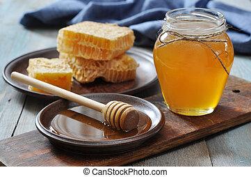 panales, frasco miel