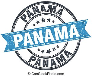 panamá, azul, redondo, grunge, vendimia, cinta, estampilla