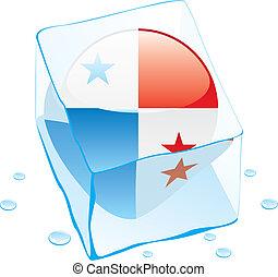 panamá, botón, bandera, congelado, en, hielo