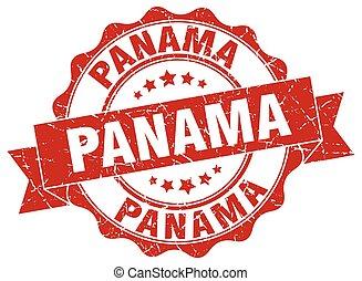 panamá, redondo, cinta, sello