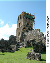 panama 165 - cathedral at viejo (old) panama reconstruction...