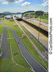 Panama Canal in a sunny day - Panama Canal at midday in a...