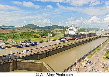 Panama Canal, Miraflores locks - Panama City, Panama -...
