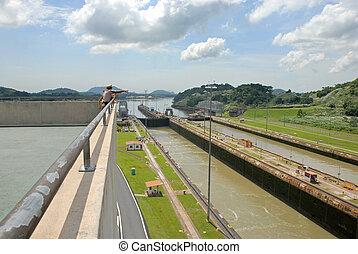 Panama Canal - Tourists at Panama Canal at midday