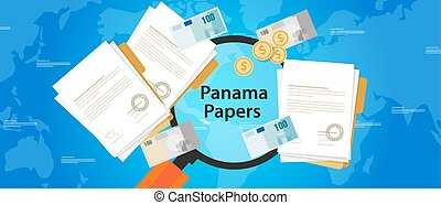 panama, carte, leaked, documento, riciclaggio di denaro,...