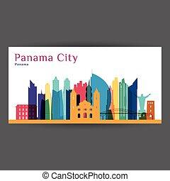 Panama City architecture silhouette. Colorful skyline.