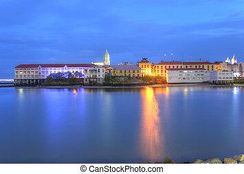 Panama City, Casco Viejo in the twilight
