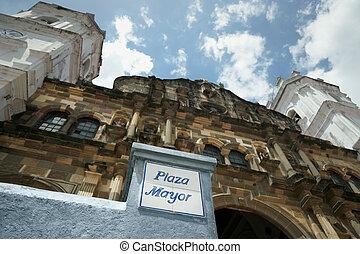 Panama City Cathedral in plaza Mayor Casco Antiguo - Panama...