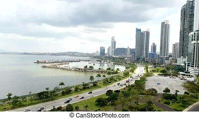 Panama city center skyline and bay of Panama.
