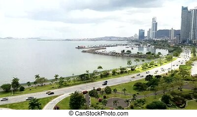 Panama city center skyline and bay of Panama.