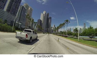 Panama City, Panama - CIRCA 2013: Traffic movement over a...