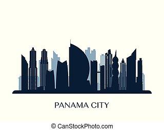 Panama City skyline, monochrome silhouette.