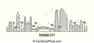 Panama City skyline, Republic of Panama. This illustration represents the city with its most notable buildings. Vector is fully editable, every object is holistic and movable