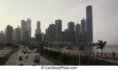 Panama City time-lapse of cars - Urban scene. Timelapse of...
