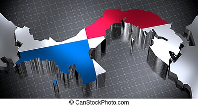 Panama - country borders and flag - 3D illustration