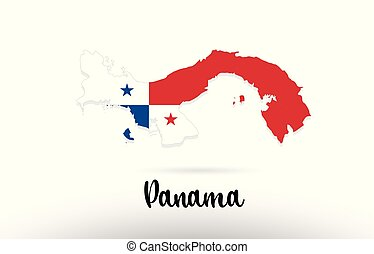 Panama country flag inside map contour design icon logo