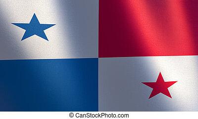Panama flag. 3d illustration of waving flag of Panama