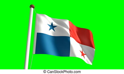 Panama flag (Loop & green screen) - 3D Panama flag video...