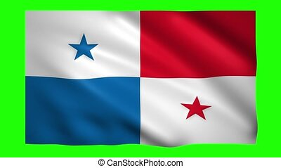 Panama flag on green screen for chroma key
