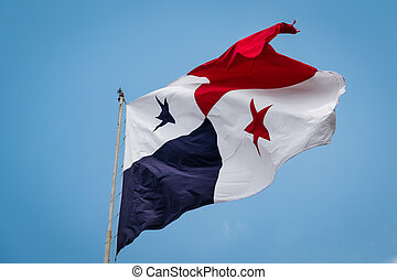 Panama Flag - the national flag of Panama on blue sky background