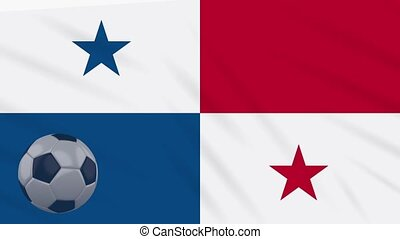 Panama flag waving and soccer ball rotates, loop - Panama...
