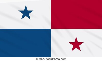 Panama flag waving cloth, background loop - Panama flag...