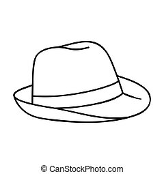 Panama hat icon in outline style isolated on white...