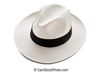 panama hat model isolated over white background