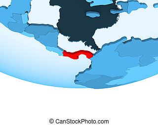 Panama in red on blue map