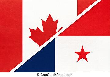 panama, kampioenschap, textile., nationale, canada, symbool, twee, countries., vlaggen, amerikaan, tussen