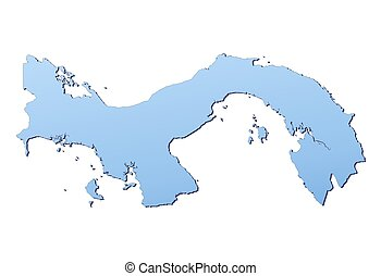 Panama map filled with light blue gradient. High resolution....