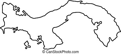 Panama map of black contour curves of vector illustration