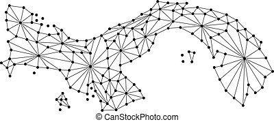 Panama map of polygonal mosaic lines network, rays and dots vector illustration.
