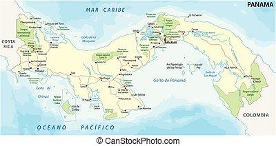 panama road and national park vector map