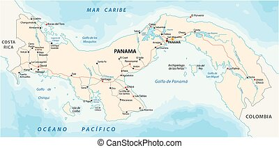 panama road vector map